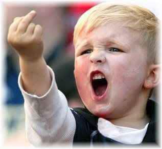 child sticking up middle finger