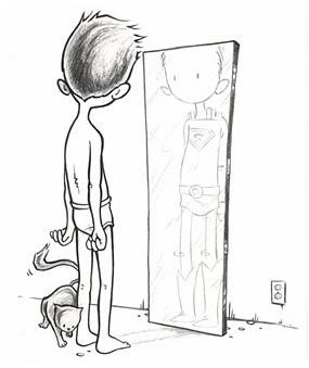 boy looking in mirror