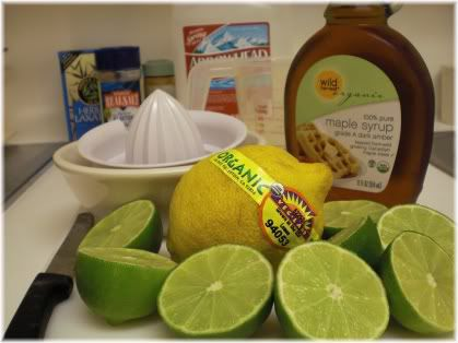 maple syrup, limes, lemon & juicer
