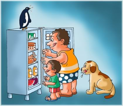family look in fridge