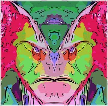 colorful angry face