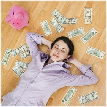 woman lying on floor with money