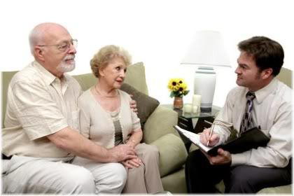 salesman with senior citizens